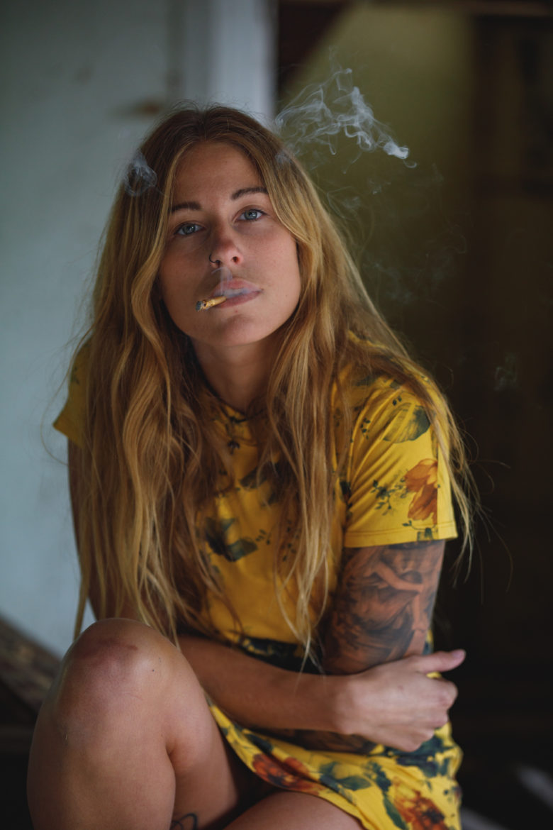 Cannabis Lifestyle Photography: Cute Girl Smoking Cannabis